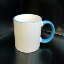 Кружка с фотографией голубой ободок и ручка