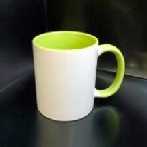 Кружка с фотографией зеленая ручка и внутри