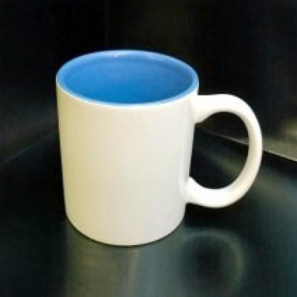 Кружка с фотографией голубая внутри