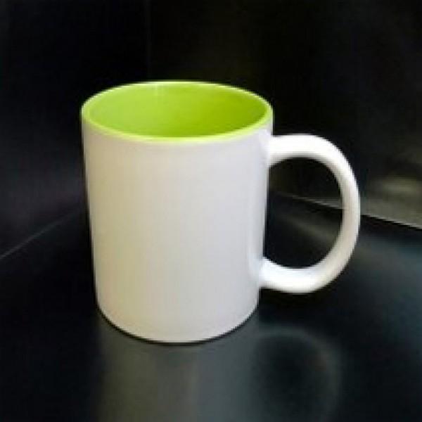 Кружка с фотографией светло-зеленая внутри