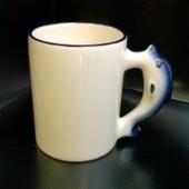 Кружка с фотографией ручка-дельфин синий ободок
